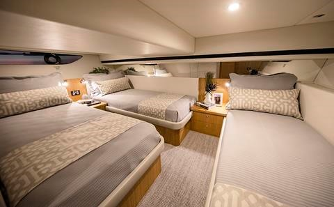 Miami International Boat Show Premiere - Riviera 39 Sports Motor Yacht - Aft Stateroom.