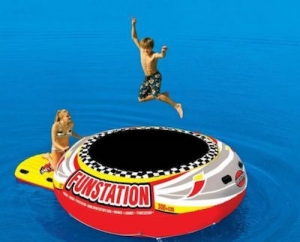 family boating activities - water trampoline