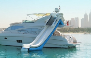 family boating activities - waterslide