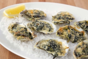 Pacific oysters with spinach and cheese